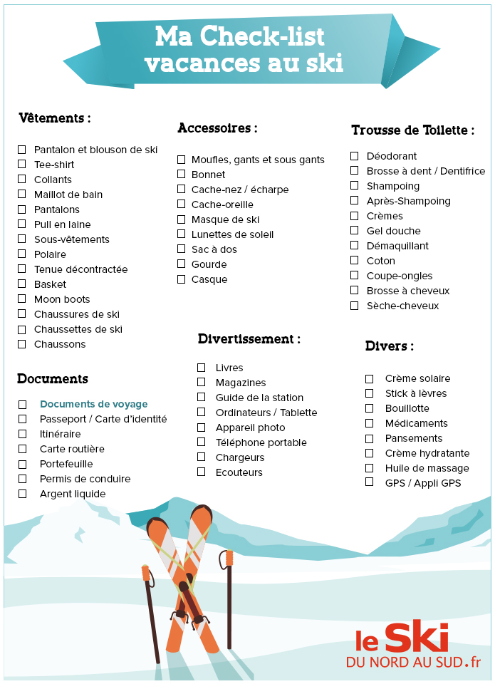 Super Ma Check-list pour mes vacances au ski - La France du Nord au Sud  VZ13